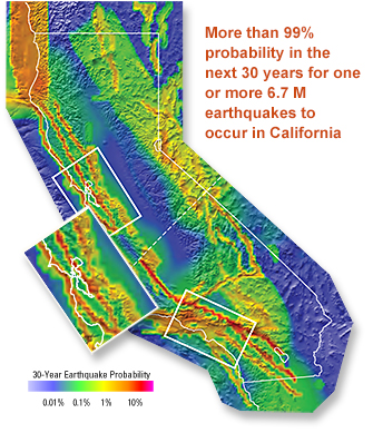 california has more than a 99 chance of having a magnitude 6 7 or larger earthquake within the next 30 years according to scientists using a new model to