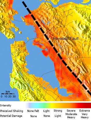 USGS map showing the shaking intensities expected for a hypothetical scenario earthquake (magnitude 6.7) on the southern Hayward Fault.
