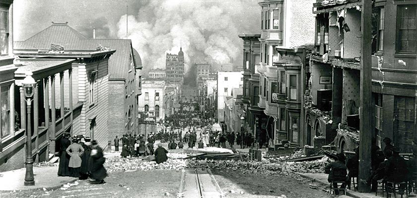 Looking down Sacramento Street towards the bay after the San Francisco earthquake of 1906