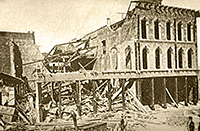 Photo showing one wrecked building in what is now San Francisco's Financial District after the 1868 Hayward earthquake.