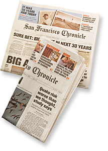San Francisco Chronicle newspapers showing earthquake prediction headlines.