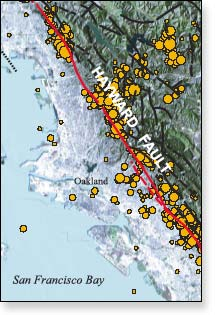 Earthquakes and Faults in the San Francisco Bay Area map.